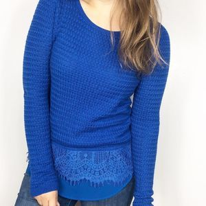 LUCKY BRAND | Royal Blue Lace Layer Soft Sweater